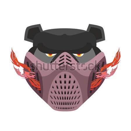 Protective helmet Scary. Sports respirator future. paintball mas Stock photo © popaukropa