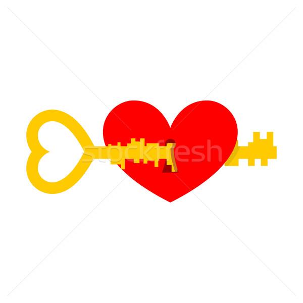 Foto stock: Chave · coração · ilustração · dia · dos · namorados · casamento · amor