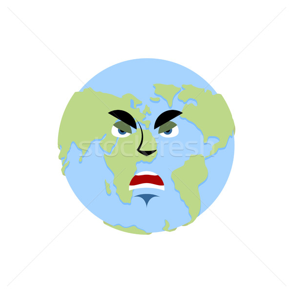 Earth angry Emoji. Planet aggressive emotion isolated Stock photo © popaukropa