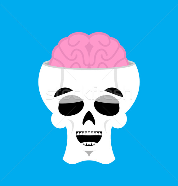 Skull and brain happy Emoji. skeleton head marry emotion isolate Stock photo © popaukropa