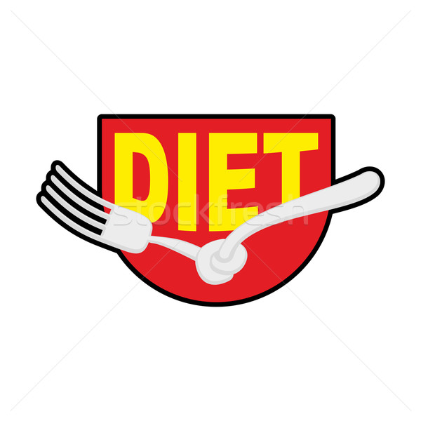 Diet logo, sign. Emblem of Fork with node. Patch stop food. Forb Stock photo © popaukropa