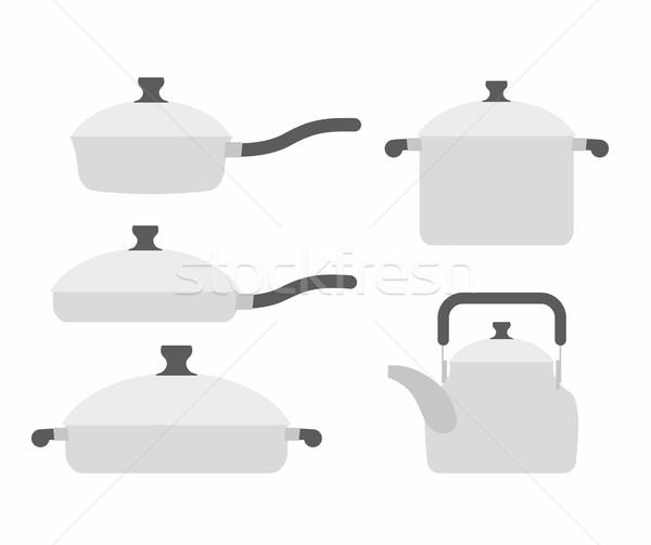 Conjunto cozinha utensílios frigideira panela chá Foto stock © popaukropa