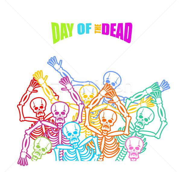 Day of the Dead Multicolored skeleton. color Skull. Dead backgro Stock photo © popaukropa