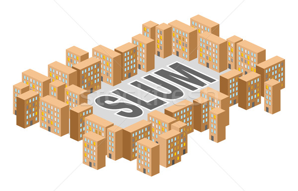 Slum district. Building in  form of letters. Ghetto Poor distric Stock photo © popaukropa