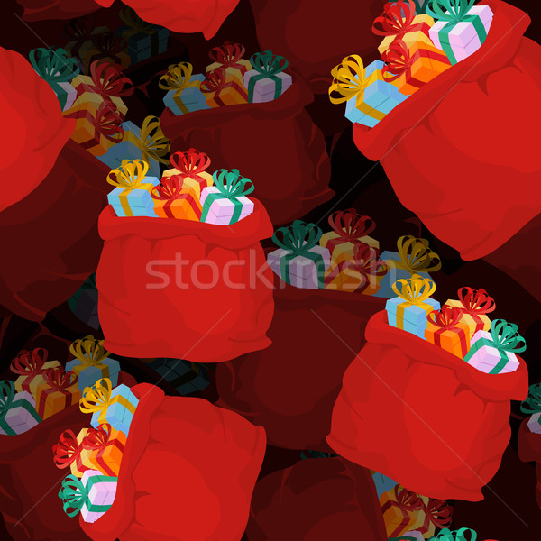 Santa bag of gifts seamless pattern. Festive red bag of volumetr Stock photo © popaukropa