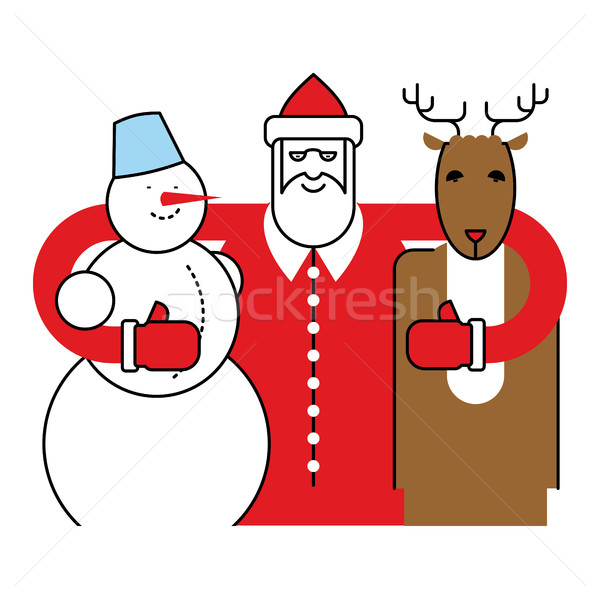 Santa, Snowman and Reindeer. Christmas character. Friends for Ne Stock photo © popaukropa