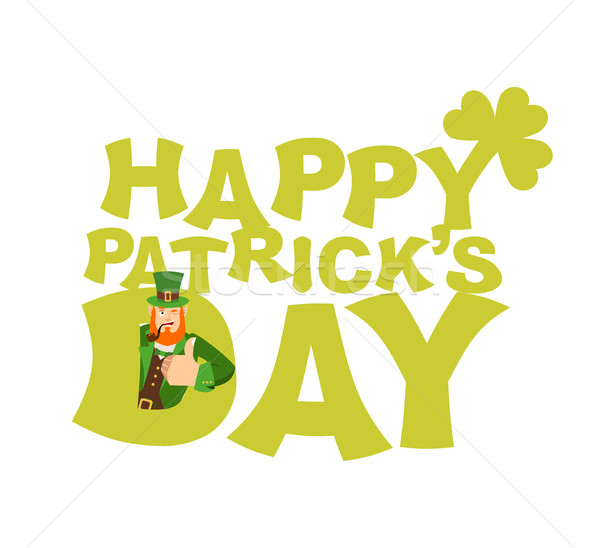 Happy St.Patrick 's Day emblem lettering. Leprechaun winks. Dwar Stock photo © popaukropa