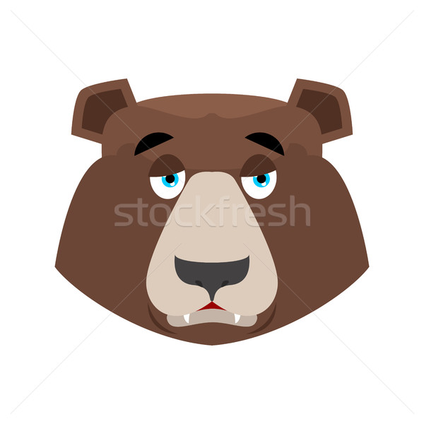 Stock photo: Bear sad Emoji. grizzly melancholy emotion. face Wild animal iso