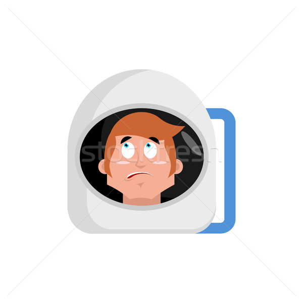 Astronaut surprised Emoji. Cosmonaut amazement emotion isolated Stock photo © popaukropa