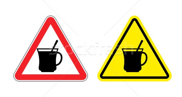 Warning sign attention hot coffee. Hazard yellow sign of drinkin Stock photo © popaukropa