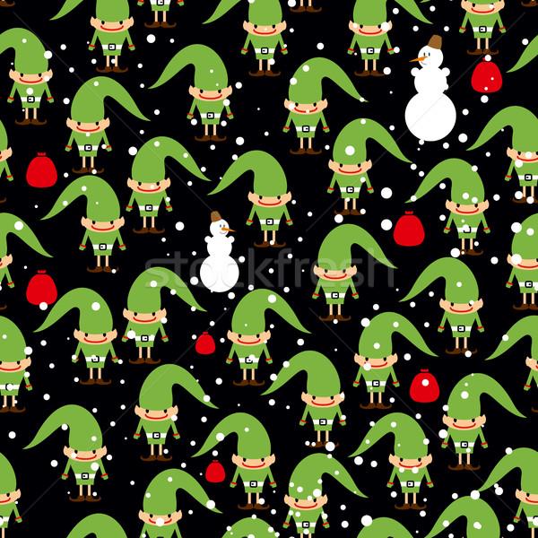 Elf Helfer Fest Textur Schneemann Stock foto © popaukropa