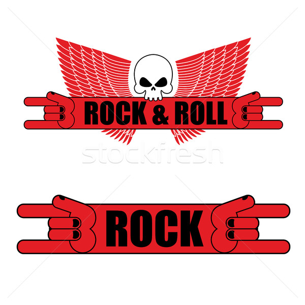Rock and roll logo. Rock hand sign and wings. Logo for  music fe Stock photo © popaukropa