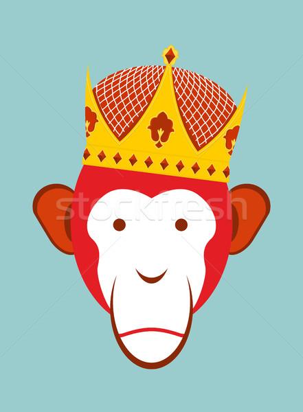 Kırmızı maymun taç şempanze kafa simge Stok fotoğraf © popaukropa