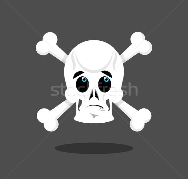 Surprised skull emotion. Crossbones. Discouraged skeleton head Stock photo © popaukropa