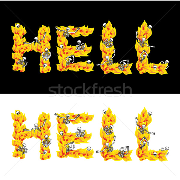 Hell text. fire letters. Skeletons in inferno. Sinners in Gehenn Stock photo © popaukropa