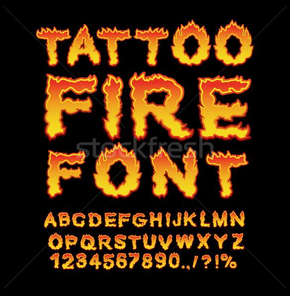 Tattoo Fire font. Flame Alphabet. Fiery letters. Burning ABC. Ho Stock photo © popaukropa