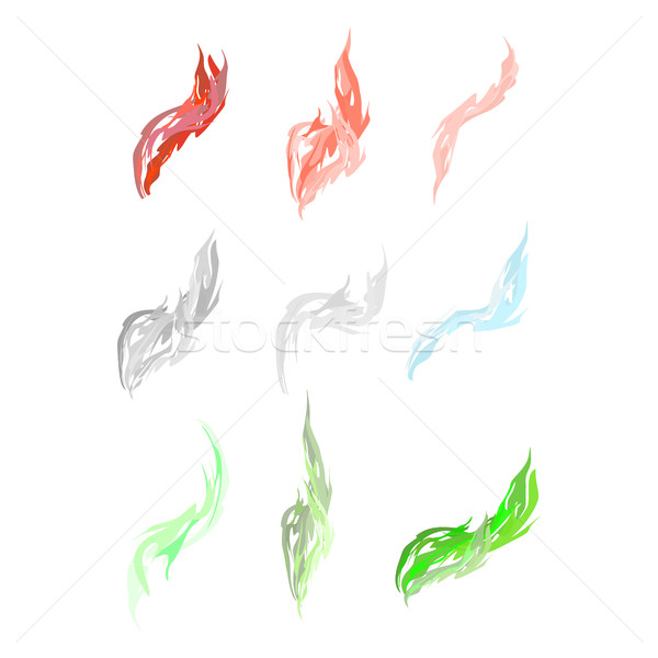 Set of acid fumes and smoke. Pink and green smoke. Vector illust Stock photo © popaukropa