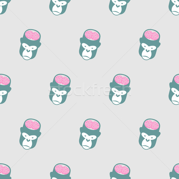Monkey Brains Gorilla seamless pattern. Vector background of ani Stock photo © popaukropa