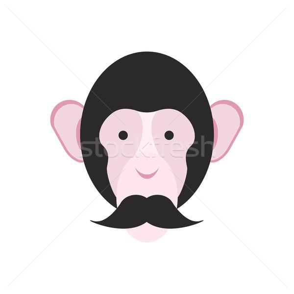 Aap snor chimpansee hoofd persoon teken Stockfoto © popaukropa