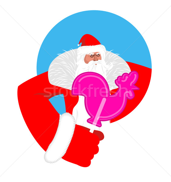 Santa and candy cock. Claus and lollypop cockerel. Sweetness of  Stock photo © popaukropa