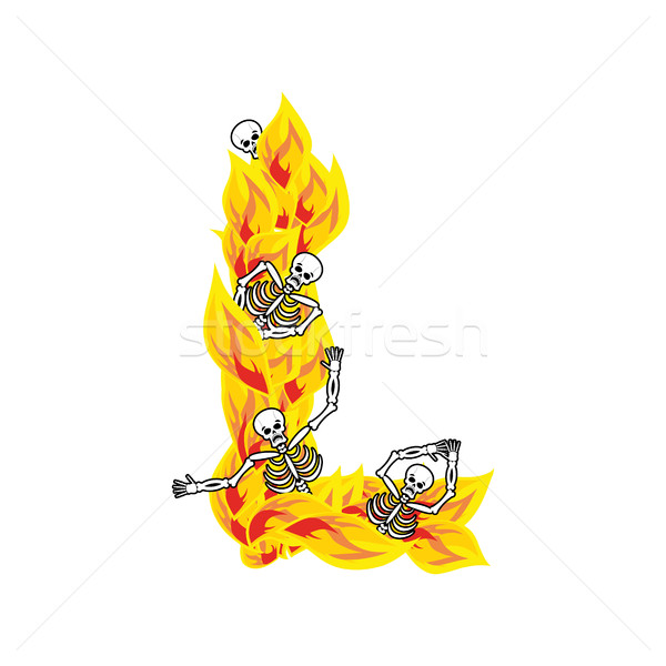 Letter L hellish flames and sinners font. Fiery lettering. Infer Stock photo © popaukropa