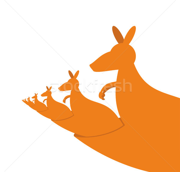 Kangaroo recursion. Lot of Australian kangaroos are sitting in t Stock photo © popaukropa