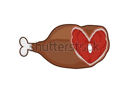 Smoked ham heart-shaped. Meat on the bone. Gammon. Love meat. Ve Stock photo © popaukropa