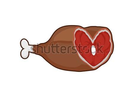 Gerookt ham vlees bot liefde voedsel Stockfoto © popaukropa