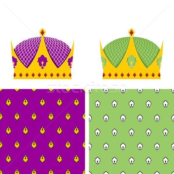Kraliyet ayarlamak altın taç kral Stok fotoğraf © popaukropa