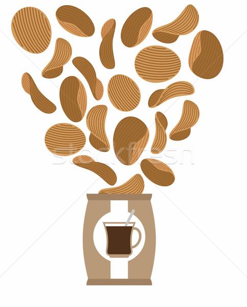 Burgonyaszirom kávé ízlés különleges sültkrumpli reggel Stock fotó © popaukropa