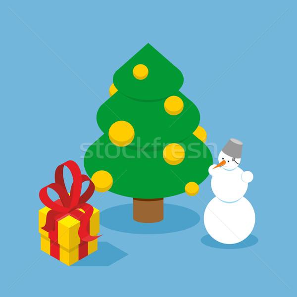 Stok fotoğraf: Noel · ağacı · kardan · adam · hediye · kutusu · tatil · ağaç · altın