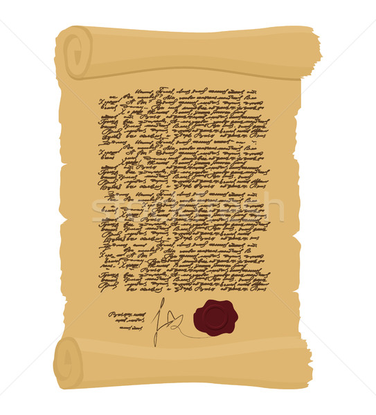 Ancient Royal Decree with print. Secret  Old yellow scroll. Abst Stock photo © popaukropa