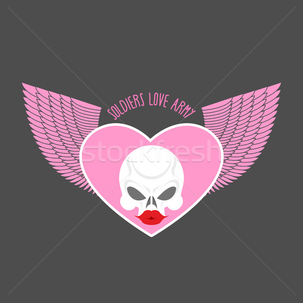 Soldiers love army logo and emblem. White skull and pink heart w Stock photo © popaukropa