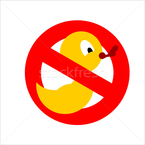 Banning sign. Yellow rubber duck for bathing crossed. Dont quack Stock photo © popaukropa