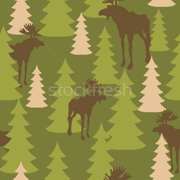 Army pattern of deer and forest. Military camouflage texture Vec Stock photo © popaukropa