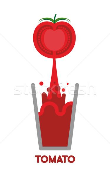 Tomato  squeeze into glass. Fresh tomato juice. Vector illustrat Stock photo © popaukropa