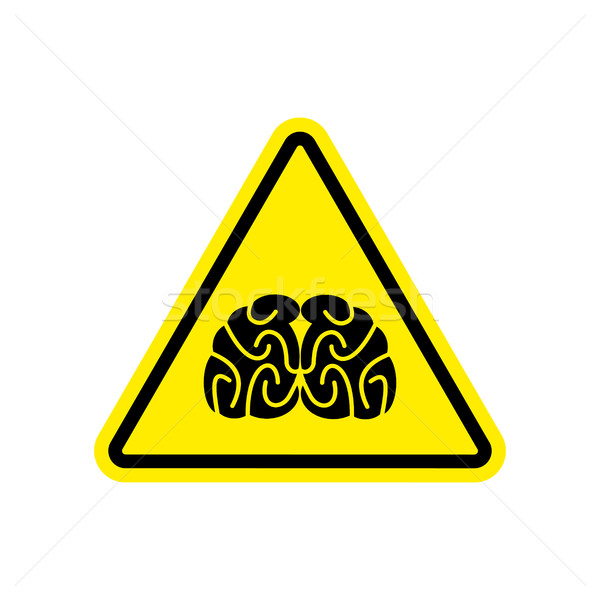 Brains Warning sign yellow. Think Hazard attention symbol. Dange Stock photo © popaukropa