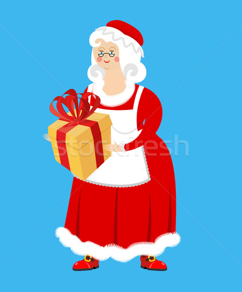Mrs. Claus and gift. Wife of Santa Claus and box. Christmas woma Stock photo © popaukropa