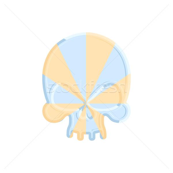 Caramel skull. Sweet skeleton head. Halloween Scary candy  Stock photo © popaukropa