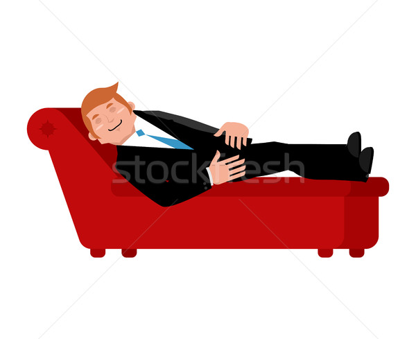Patient on psychologists couch is isolated. Relaxed businessman  Stock photo © popaukropa