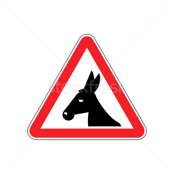 Attention donkey driving. jackass on red triangle. Road sign att Stock photo © popaukropa