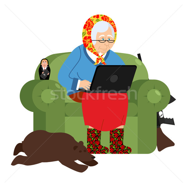 Russian hacker Grandmother and laptop. old woman in an armchair  Stock photo © popaukropa