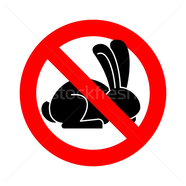 Stop rabbit. ban bunny hare is forbidden. Red prohibitory road s Stock photo © popaukropa