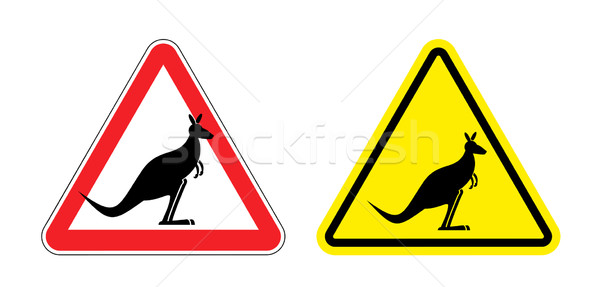 Warning sign of attention Kangaroo. Hazard yellow sign jumping m Stock photo © popaukropa