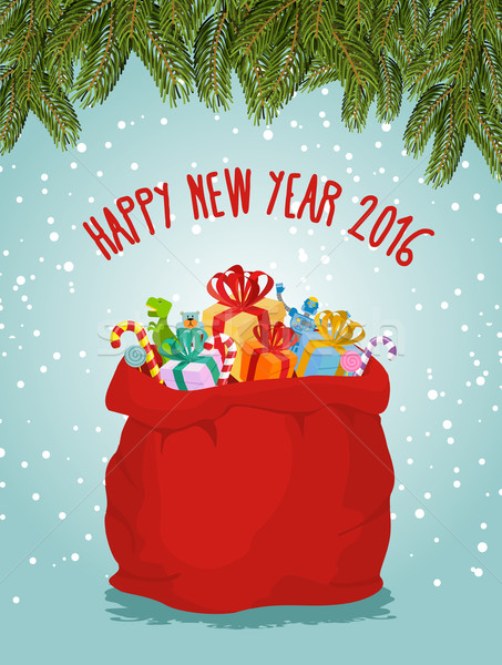Happy new year. Santa big bag full of presents. Childrens toys a Stock photo © popaukropa