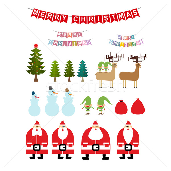 Christmas Items.Set Of Christmas Items Collection Of New Years Icons Santa
