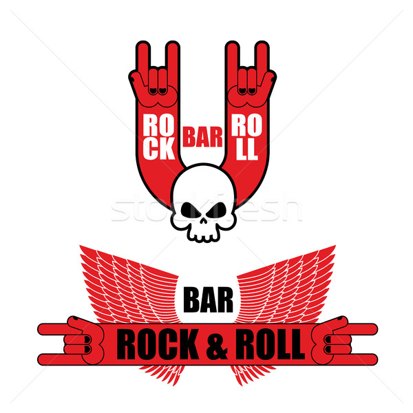 Set of logos for rock and roll bar. Hand rock sign and wings. Te Stock photo © popaukropa