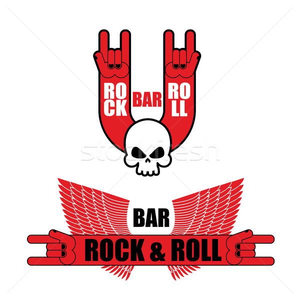Zestaw logos rock toczyć bar strony Zdjęcia stock © popaukropa