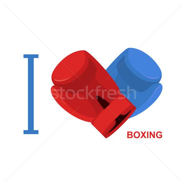 Szeretet box szimbólum szív boxkesztyűk vektor Stock fotó © popaukropa