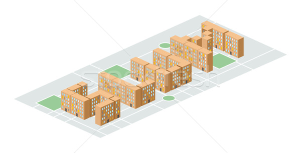Slum district. Isometric city buildings. Yard among  houses. Vec Stock photo © popaukropa